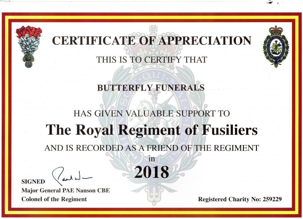 Certificate of appreciation awarded to Butterfly Funerals.